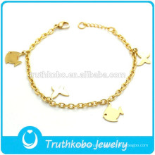 TKB-B0172 Hot charm gold plated jewelry for kids fish wrist bands 316L stainless steel animals bracelet
